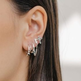 Eline Rosina - Triple Stoned Black Zirconia Hoops