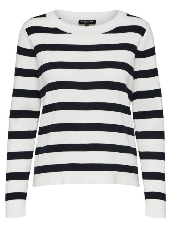Selected Femme - Alina Stripe LS Knit O-Neck NOOS
