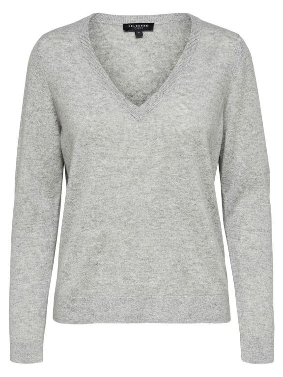 Selected Femme - Faya Cashmere LS Knit V-Neck