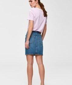 Kenna hw mid blue denim skirt