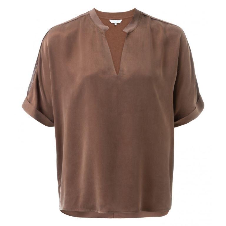 Cupro blend V-neck T-shirt