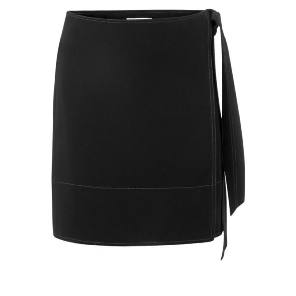 Wrapped skirt with contrast stitching