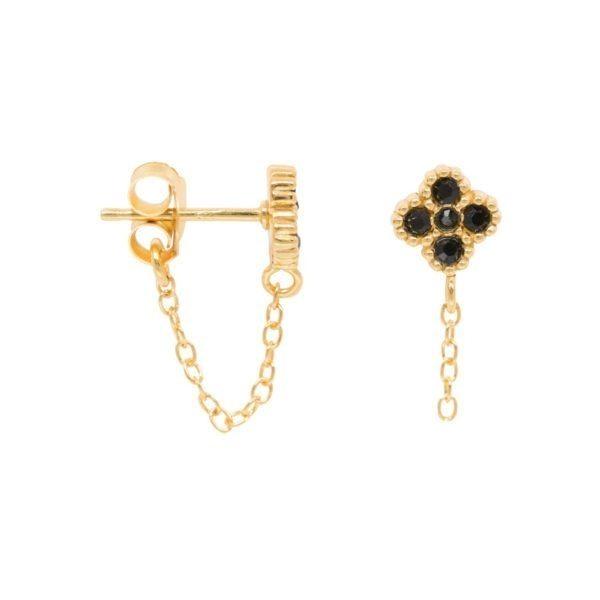 Cosmic Black Zirconia Chain Earrings