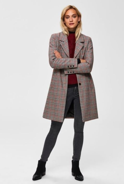 Sasja Check Wool Coat