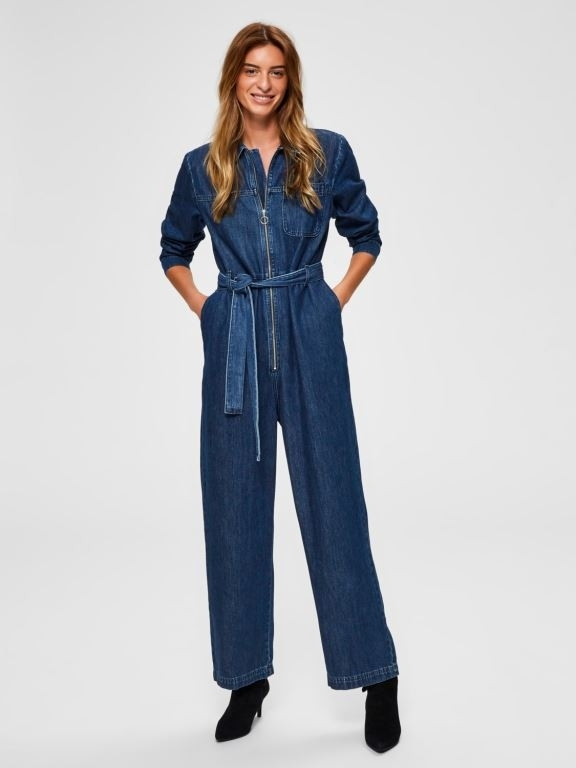 Dana Dark Blue Denim Jumpsuit