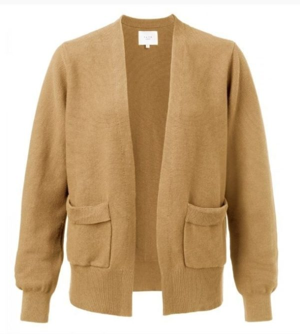 Cotton ribbed cardigan with front pockets