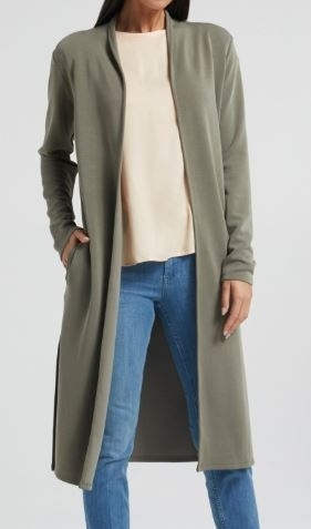 Long cardigan with scarf collar