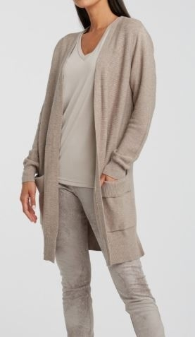 Cotton ribbed cardigan with folded pockets