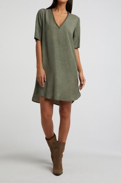 Lyocell midi dress with double collar