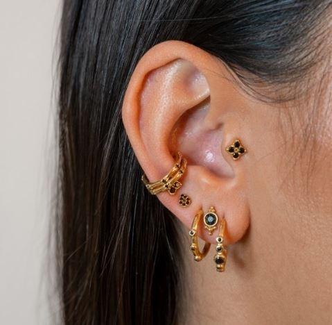 Black Zirconia Star Earrings Gold Pleated