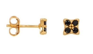 Black Zirconia Star Earrings Gold Pleated