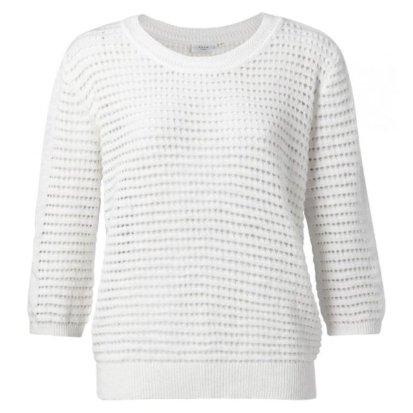 Structure Knitted Sweater with 3/4 Sleeves