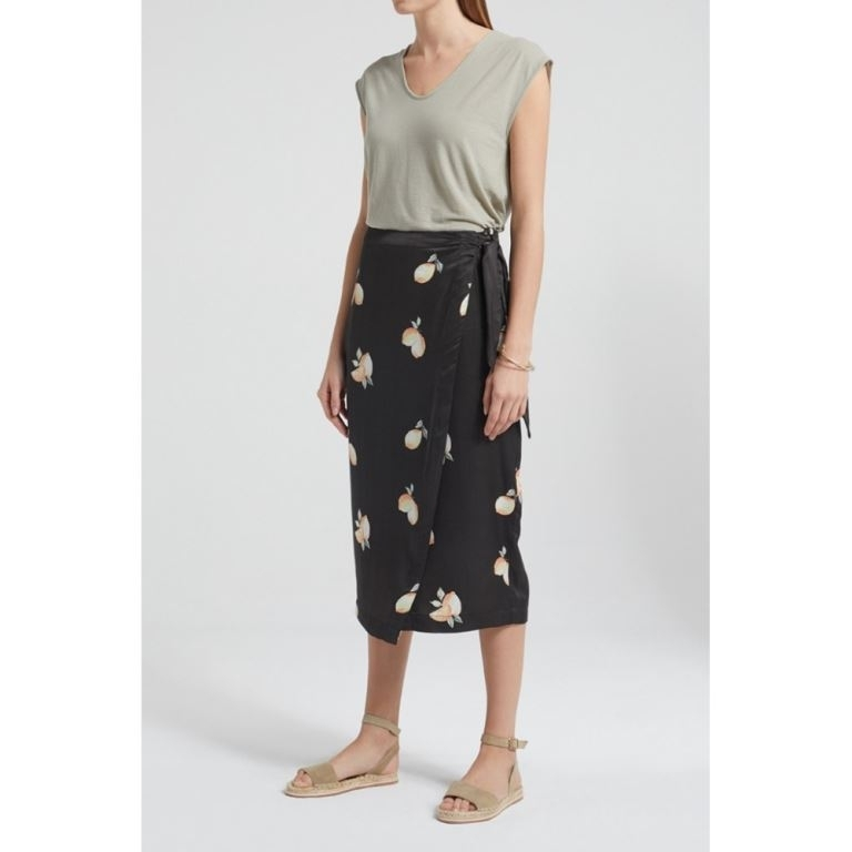 Satin Wrapped Skirt With Knotted Detail