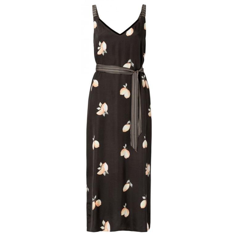 Satin Maxi Strap Dress With Lemon Print