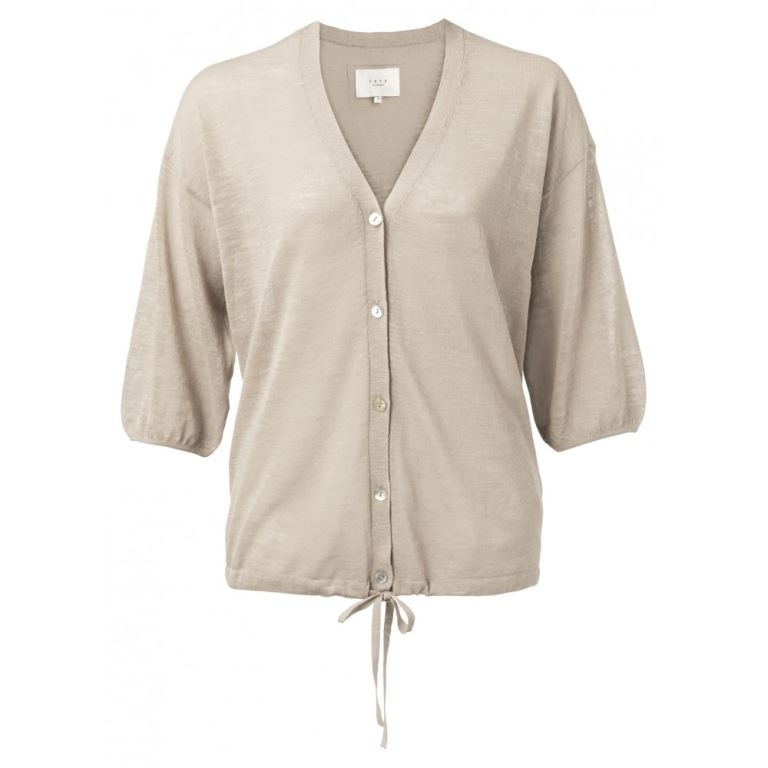Cotton linen blend cardigan with drawstring