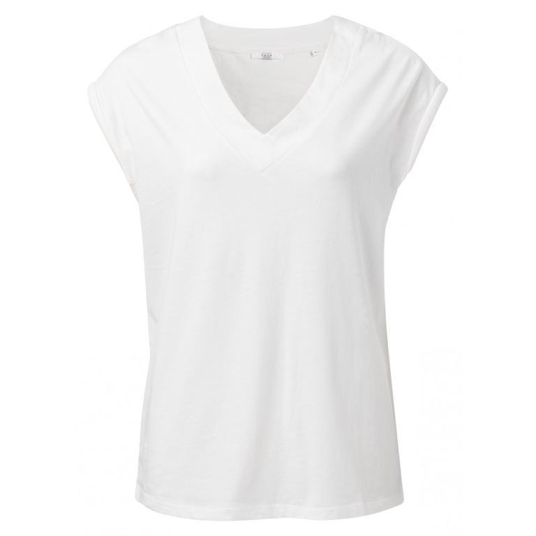 Jersey V-neck T-shirt with padded cap sleeves