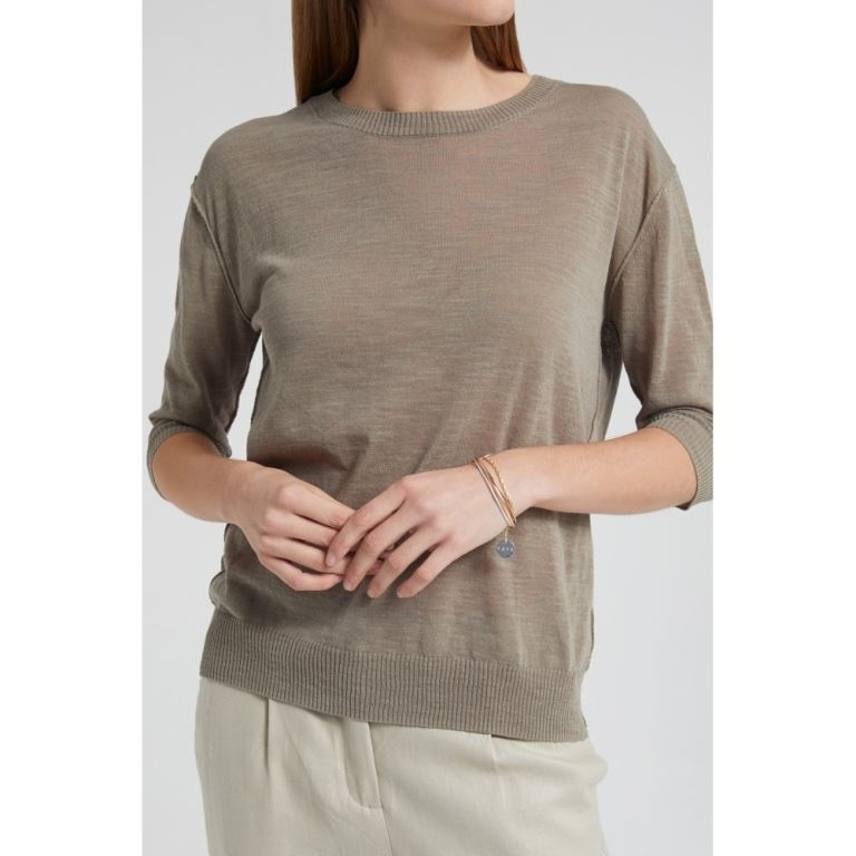 cotton linen blend sweater with buttons
