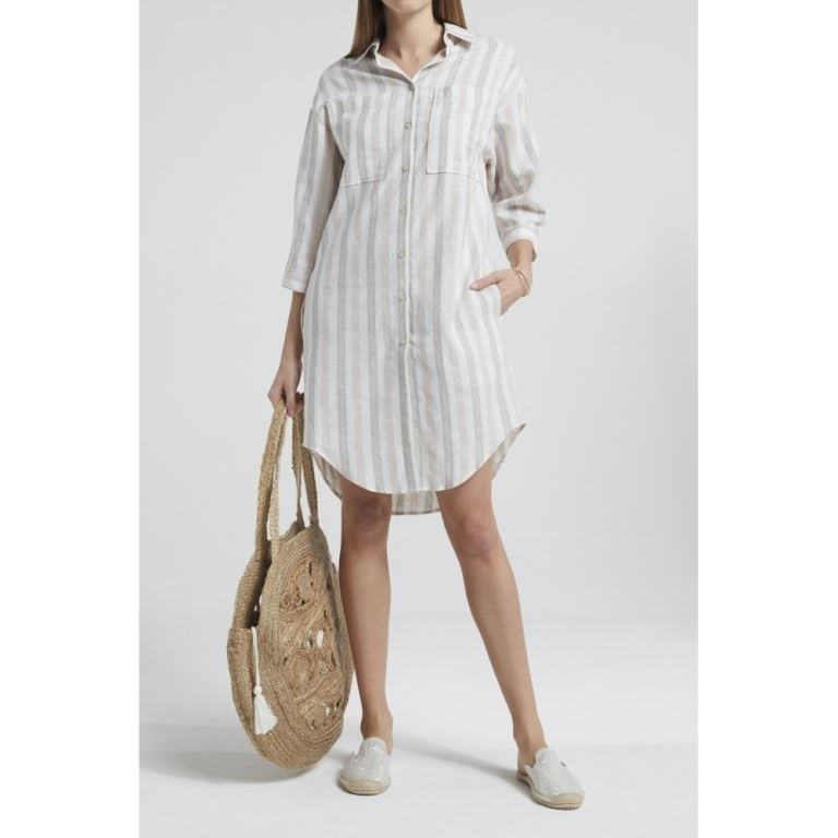 Cotton Linen Blend Oversized Shirt Dress