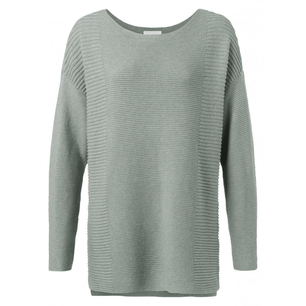 Cotton sweater with small splits on sides
