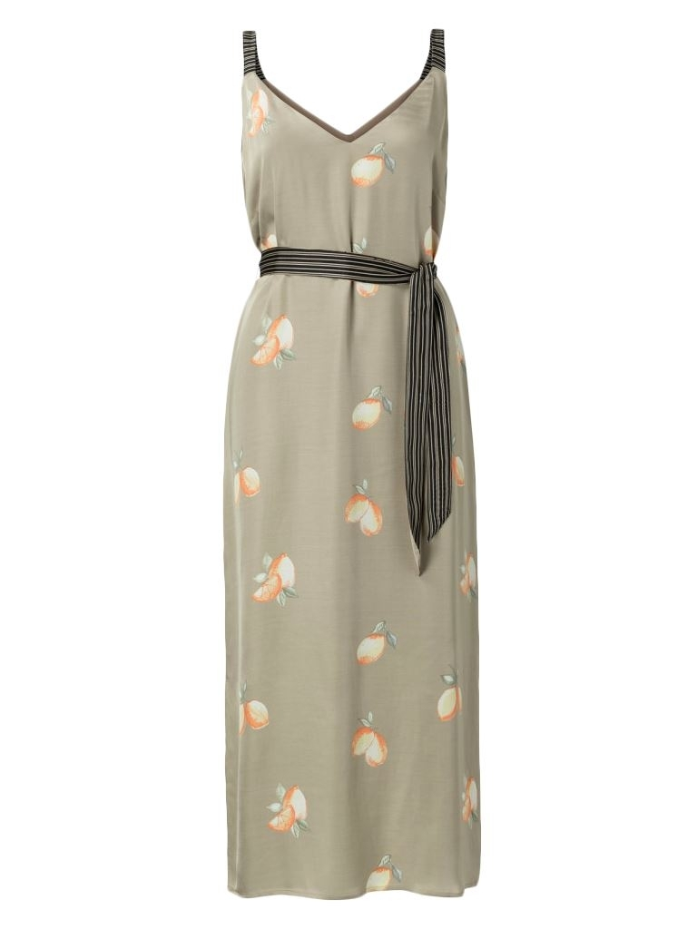 Satin Maxi Strap Dress With Lemon Print