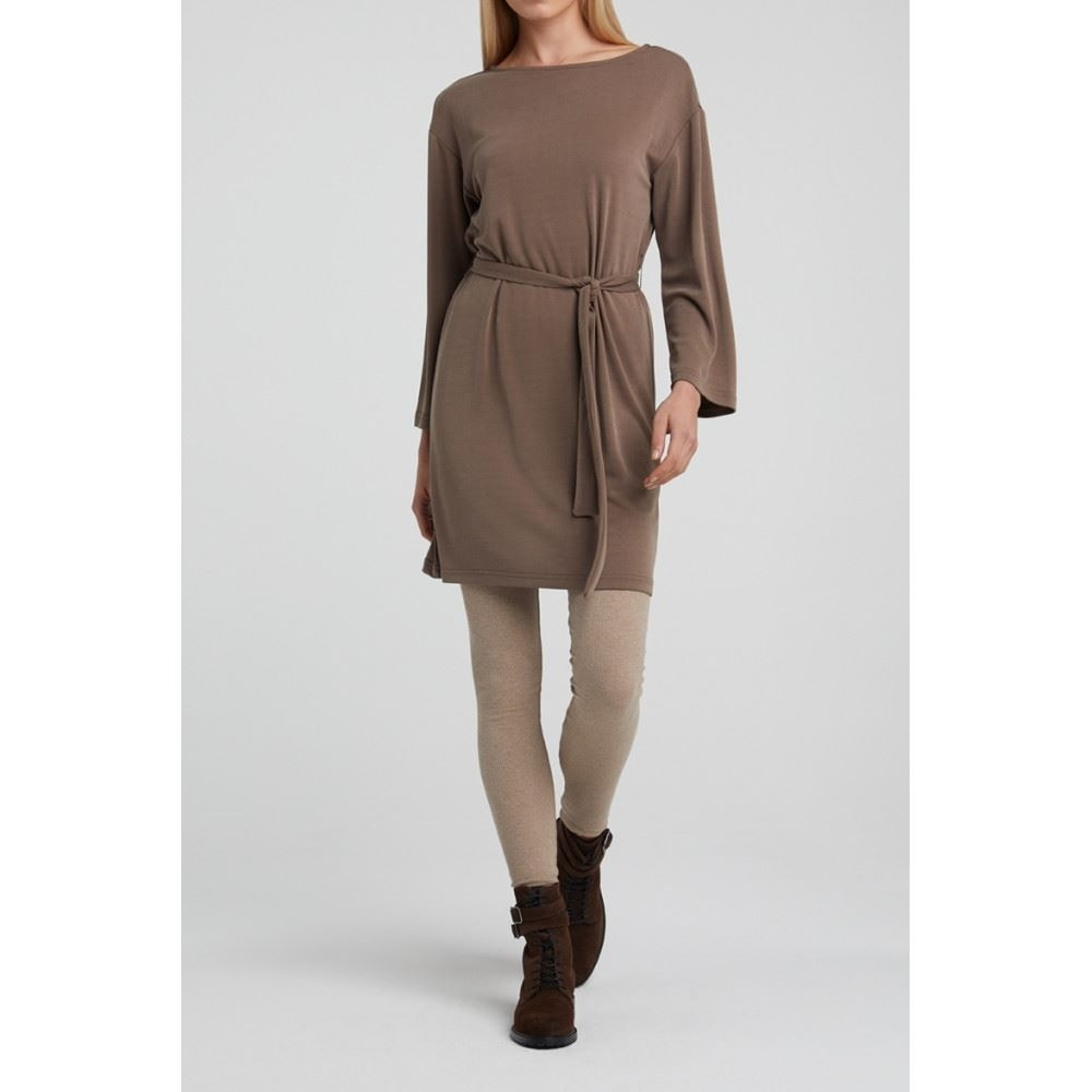 Modal Blend Boat Neck Dress with 3/4 sleeves