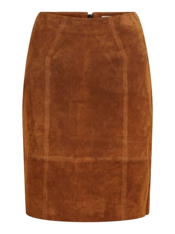 vifaith hw suede Slit Skirt NOOS
