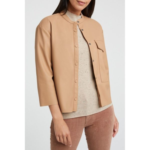 faux Leather Shirt whit Pockets and 7/9 Sleeves