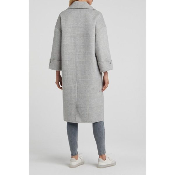 Wool blend oversized coat with 7/8 sleeves and checks