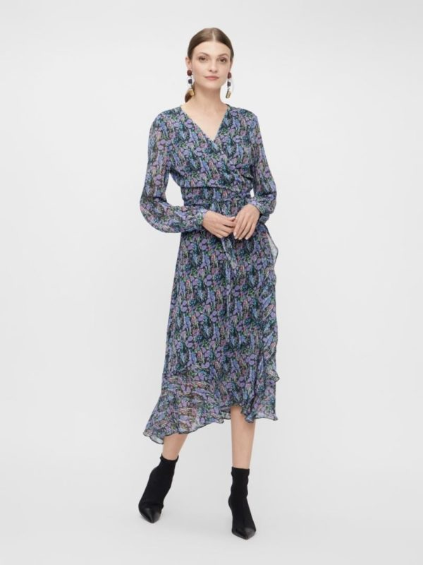 Yasesmeralda LS Midi Wrap Dress