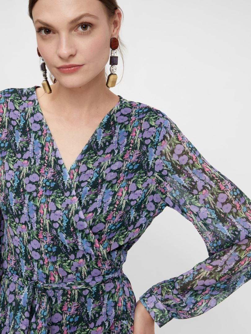 Yasesmeralda LS Midi Wrap Dress