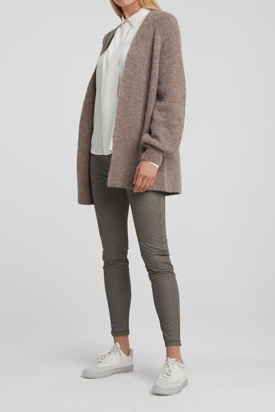 Alpaca blend rib oversized Cardigan with pockets