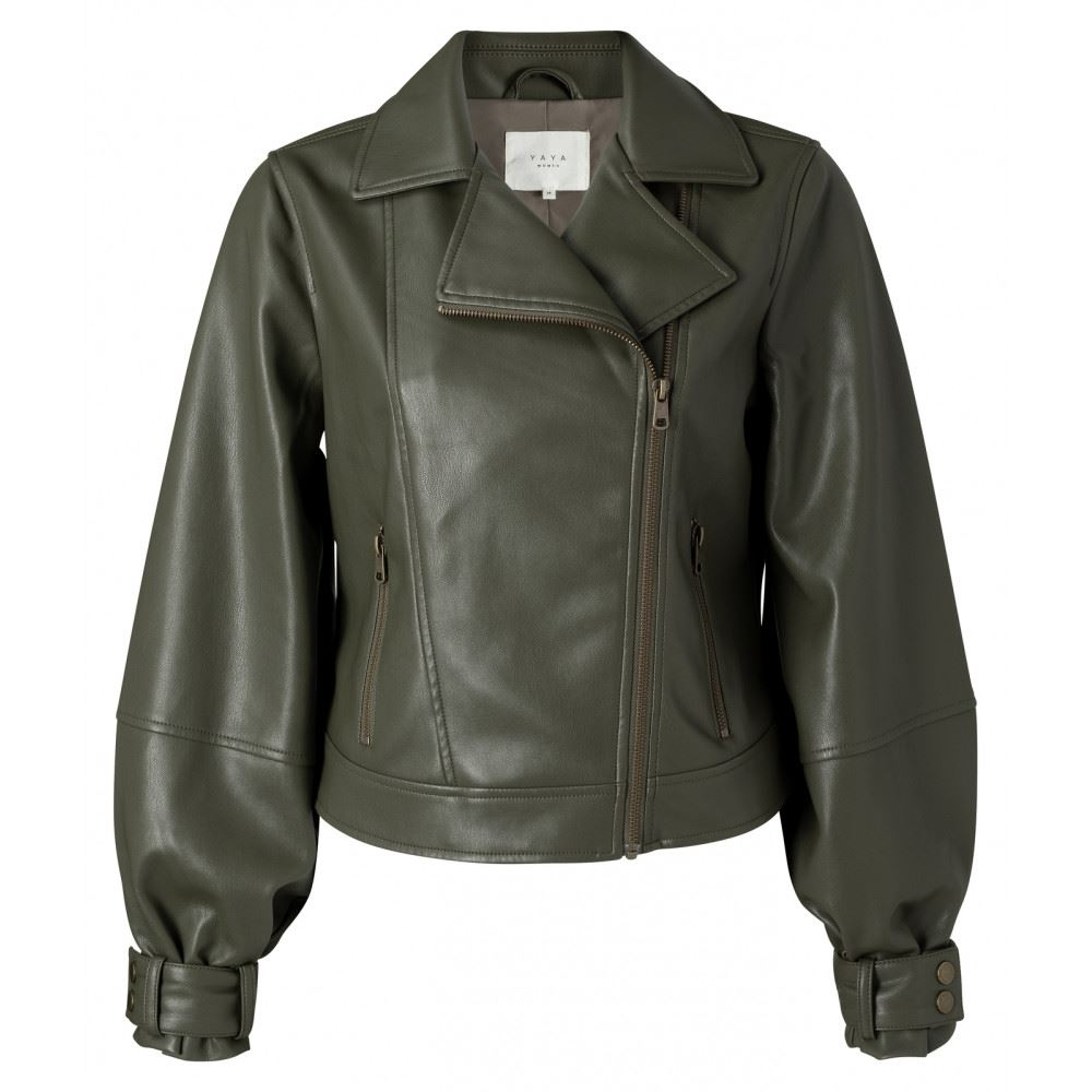 Faux Leather Biker Jacket With Balloon Sleeves