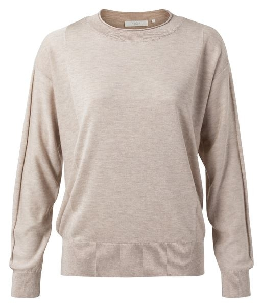 Silk Blend Sweater With Knitted Panels at Body and Sleeves
