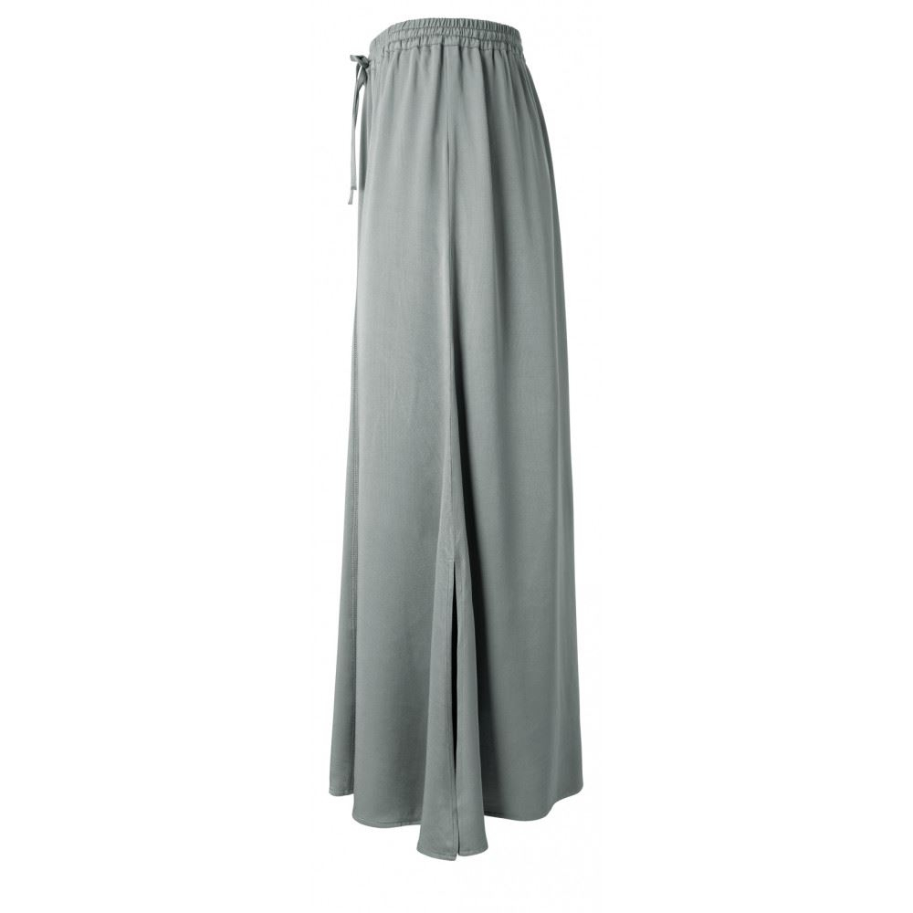 Long Satin Skirt With Elastic Waist