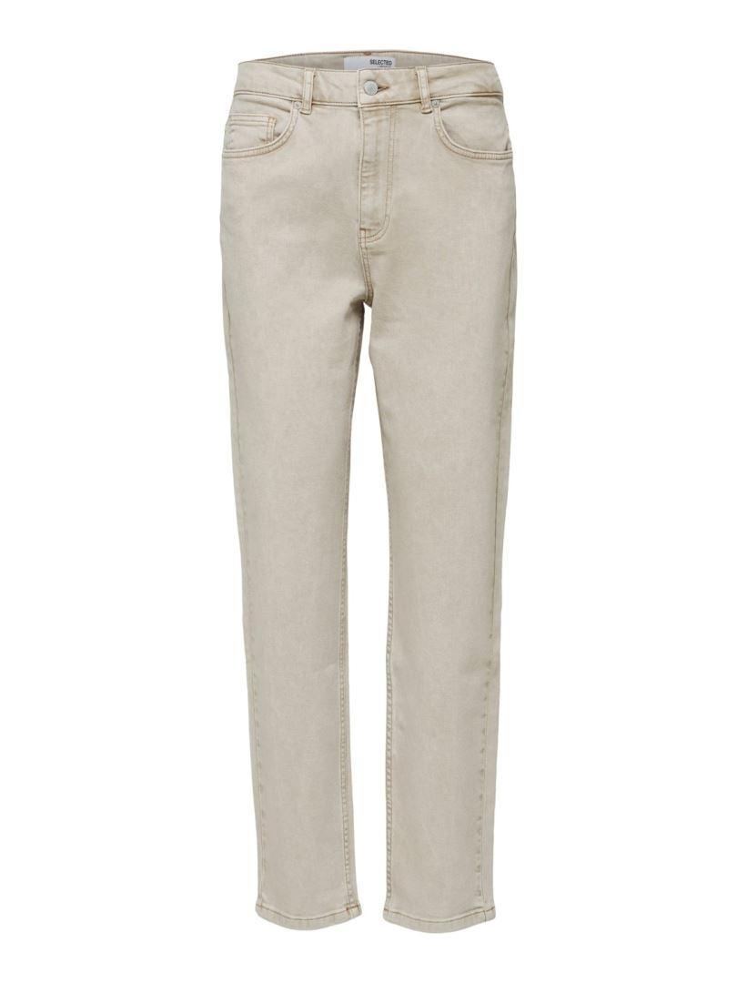 Bella HW Slim Tapered Sand Jeans