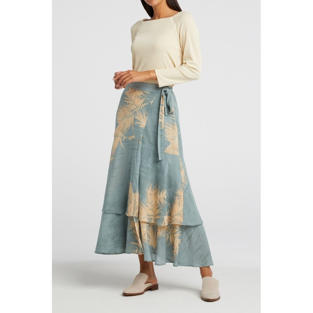 Printed Midi Skirt With Faux Wrap Effect