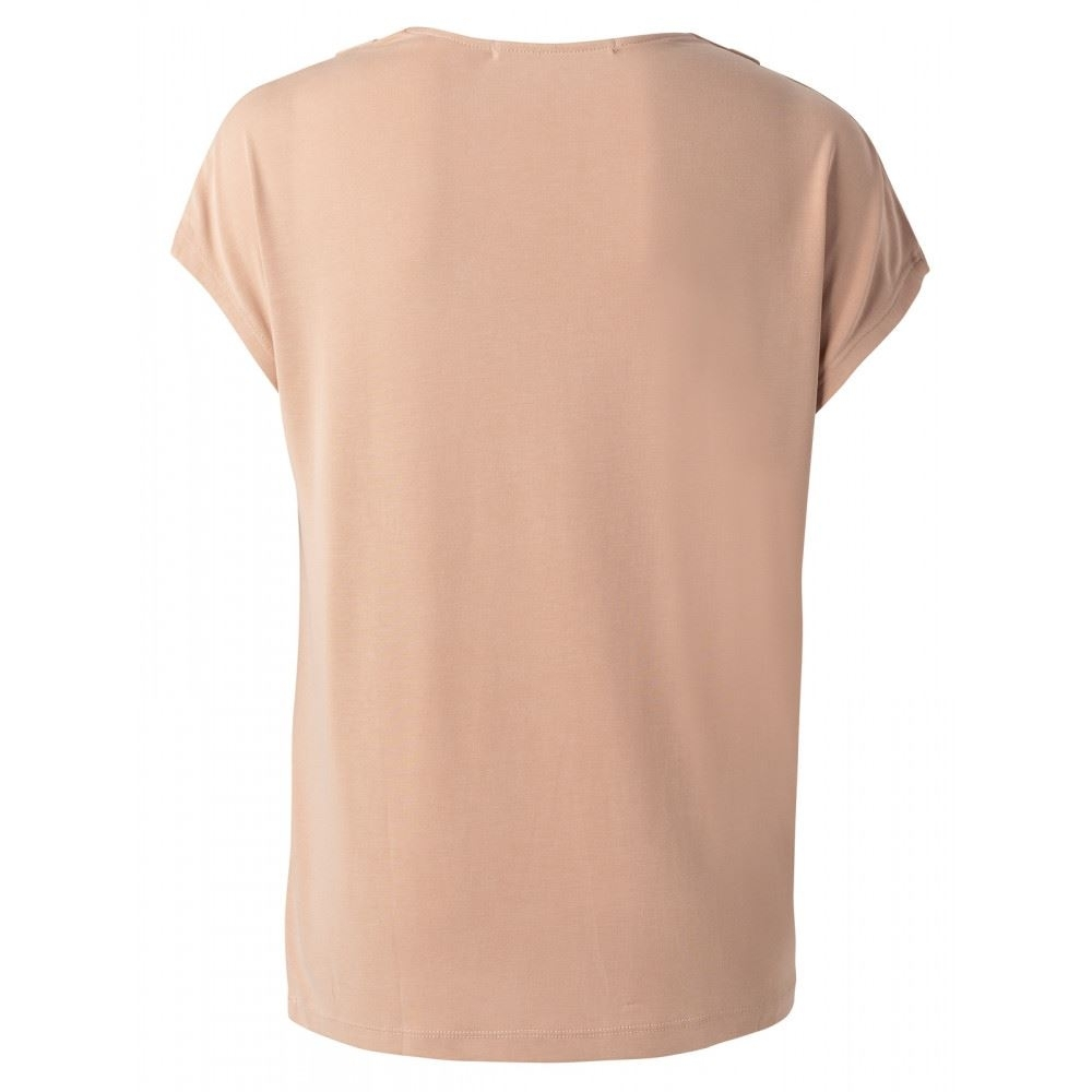 Drape Neck Top With Cap Sleeves