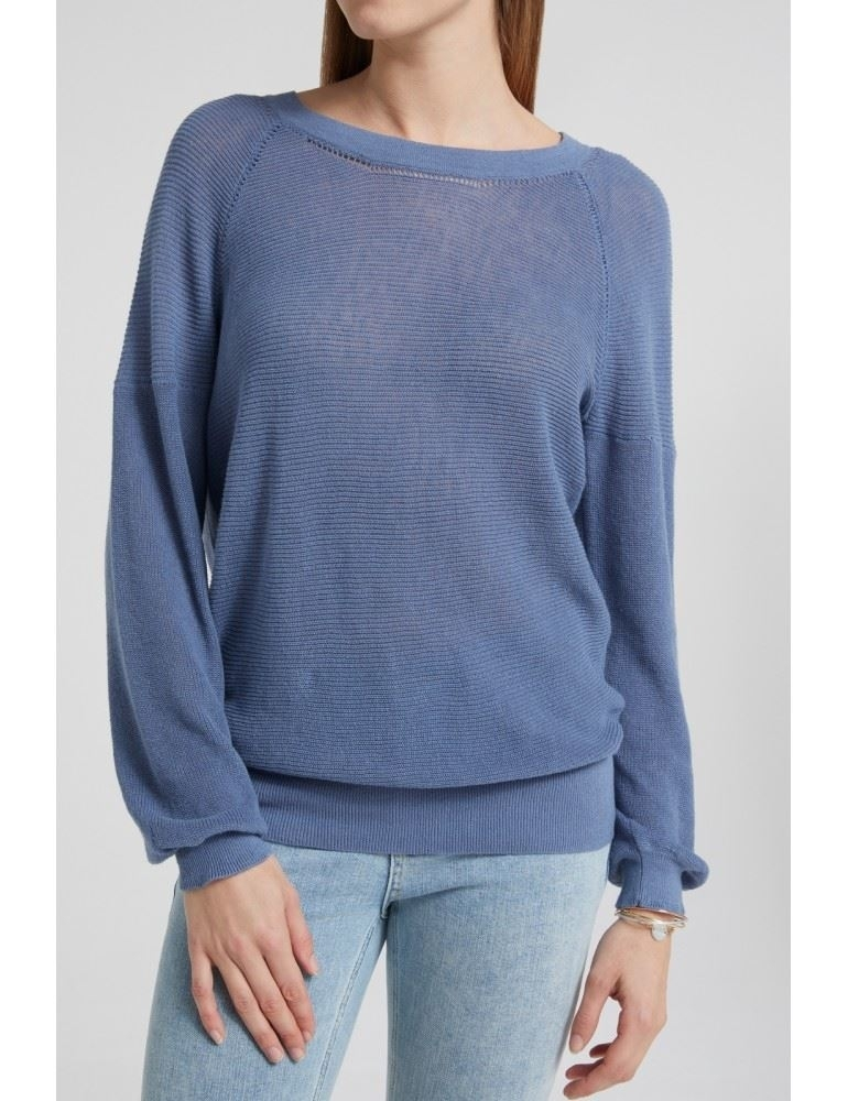 Cotton Linen Blend Structure Knitted Sweater