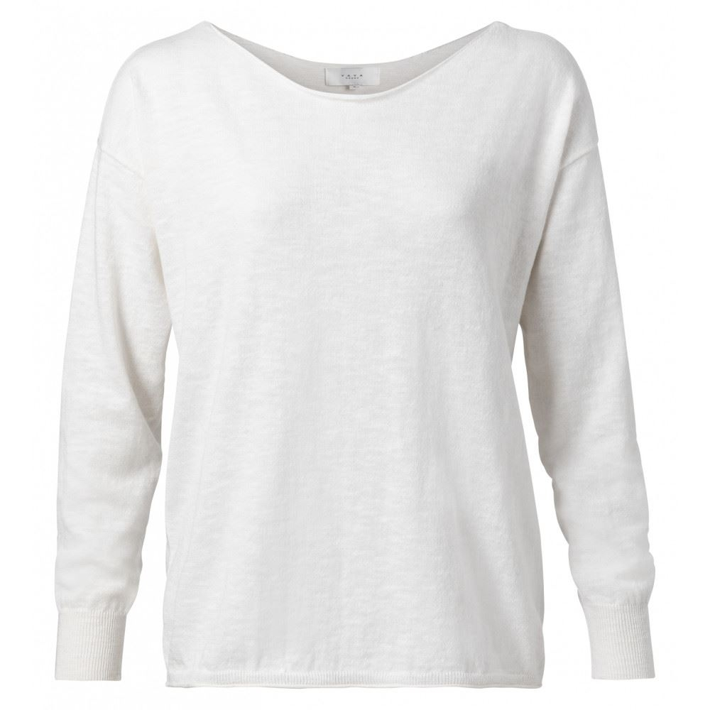 Cotton Blend Boatneck Knitted Sweater