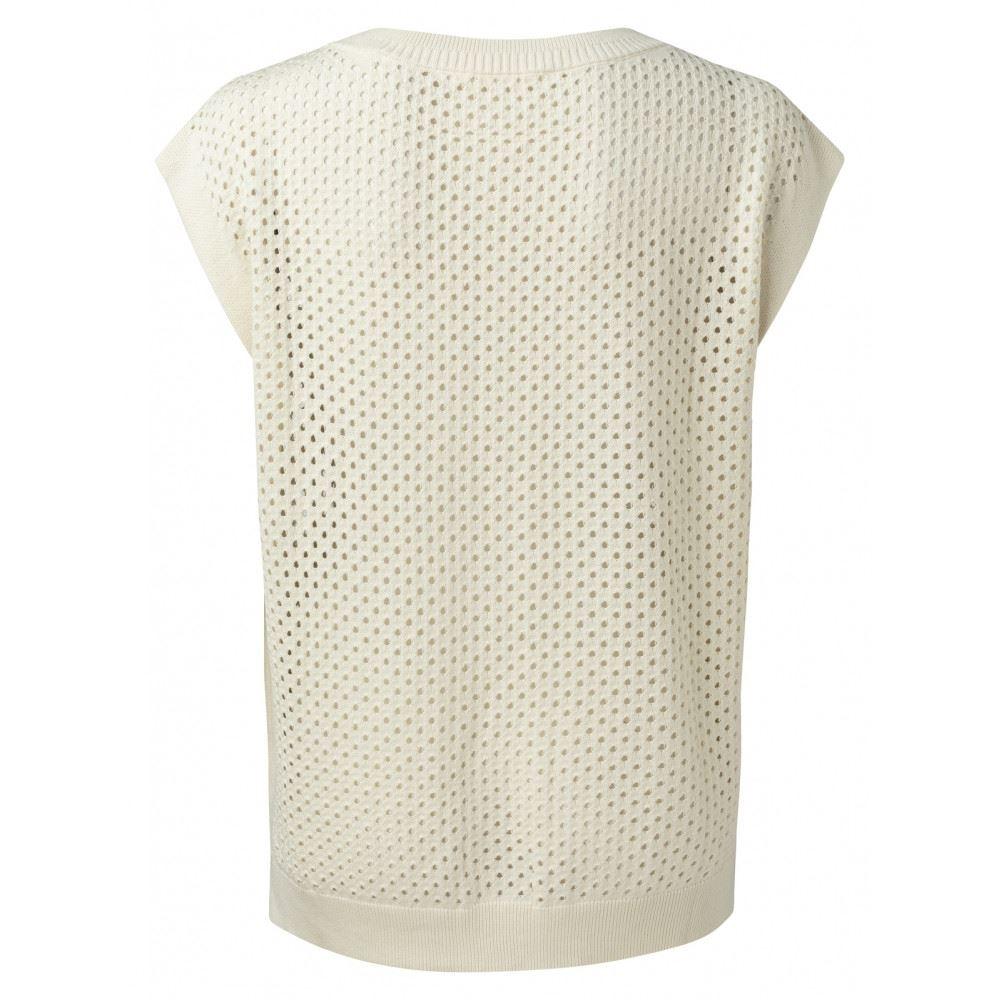 Mesh stitch sweater with fancy rib at neckline