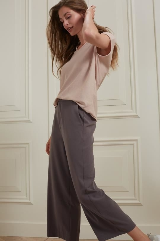 High waist culotte pantalon in viscose blend fabric