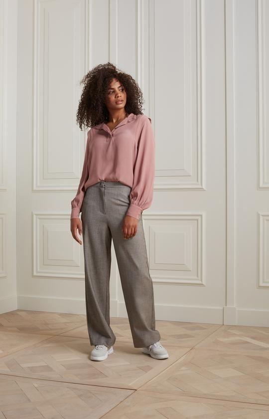 Soft Herringbone Palazzo Trousers